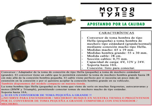 CONVERSOR TOMA MECHERO HELLA A ESTANDAR CON CABLE VW T4 CALIFORNIA MOTO BMW FURG