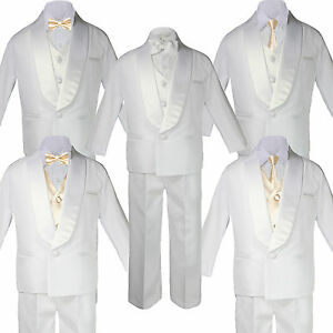 23c888b0f9e3 Image is loading Boys-White-Satin-Shawl-Lapel-Suits-Tuxedo-CHAMPAGNE-