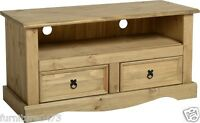 Solid Pine 2 Drawer Flat Screen Tv Unit W108cm X D44cm X H55cm Corona