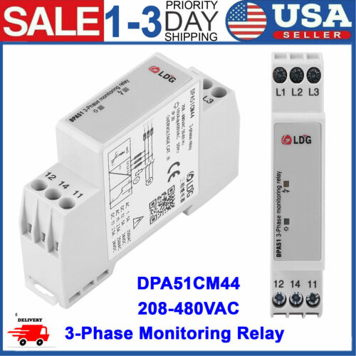 DPA51CM44 Three-Phase Monitoring Relay Phase Sequence Protector 208-480VAC USA