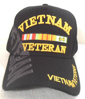 Military Cap Vietnam Veteran Black Hat With Shadow