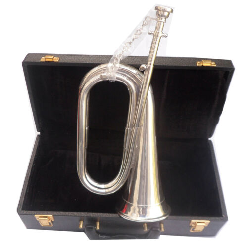 BRAND NEW PROFESSIONAL Bb BUGLE SILVER PLATED WITH  BLACK SOFT LEATHER  CASE