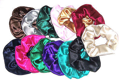 Hair Scrunchie Satin Fabric Pink Green Red Blue White Black Scrunchies by Sherry