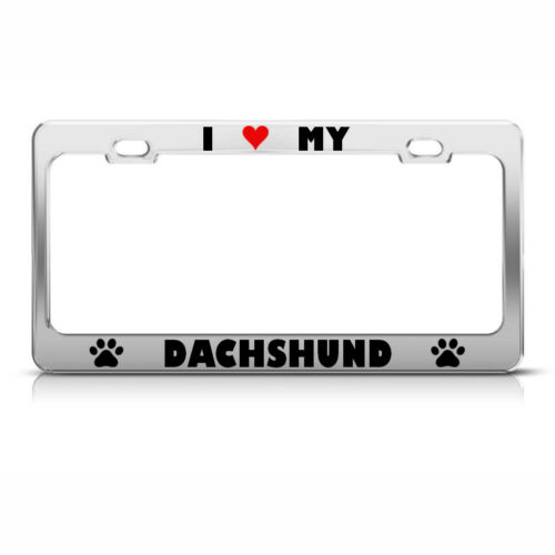 DACHSHUND PAW LOVE HEART PET DOG Metal License Plate Frame Tag Holder Two Holes