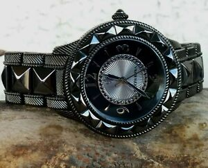 Judith Ripka Black Ceramic/Stainless Steel Watch 38mm Swiss Parts Mov. New Batte