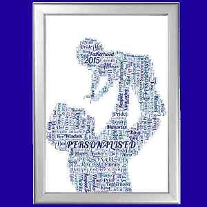personalised new daddy word art new father dad newborn gift new baby