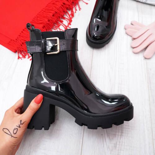 Nouveau Haut Femmes Bottines à talon bottier haut Motard Chelsea Boucle Chaussures Taille