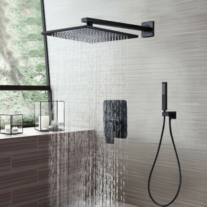 Details About 16 Oil Rubbed Bronze Rainfall Shower Combo Set Wall Mount Head W Handheld