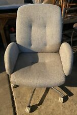 Vintage Steelcase Chrome Fabric Swivel Office Chair With Armrest Model 4541774