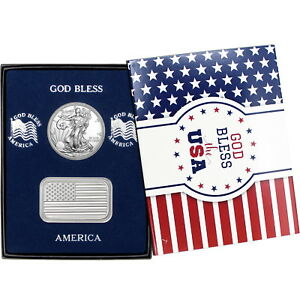 American-Flag-Silver-Bar-and-Silver-American-Eagle-2pc-Box-Set