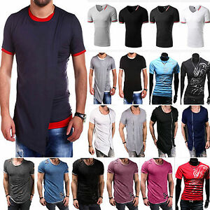 426c04153e6 Ripped Irregular Hem Top Men Summer Short Sleeve Slim Fit Muscle T ...