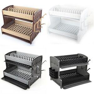 Galaxy-2-Tier-Large-Dish-Drainer-Rack-Tray-Utensil-Cutlery-Kitchen-Plastic