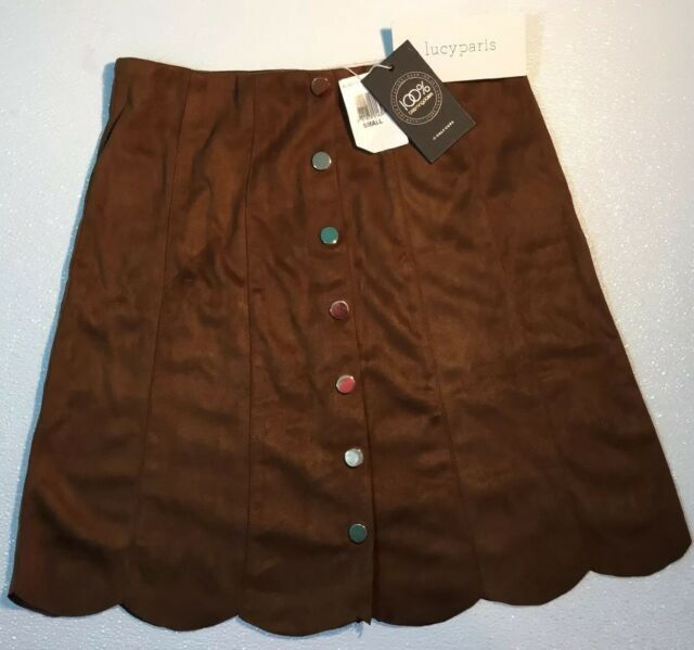 c9e5833d4 NEW LUCY PARIS Faux Brown Leather Suede Skirt Small Dress Gold Snap Front A  Line