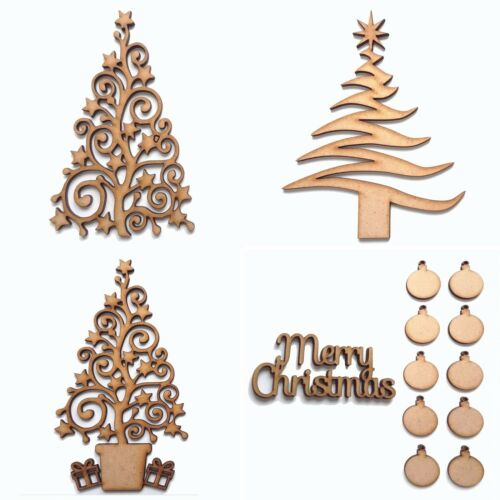 Wooden Merry Christmas 3 Tree Shapes with 10 baubles MDF Blank Celebrations 15cm