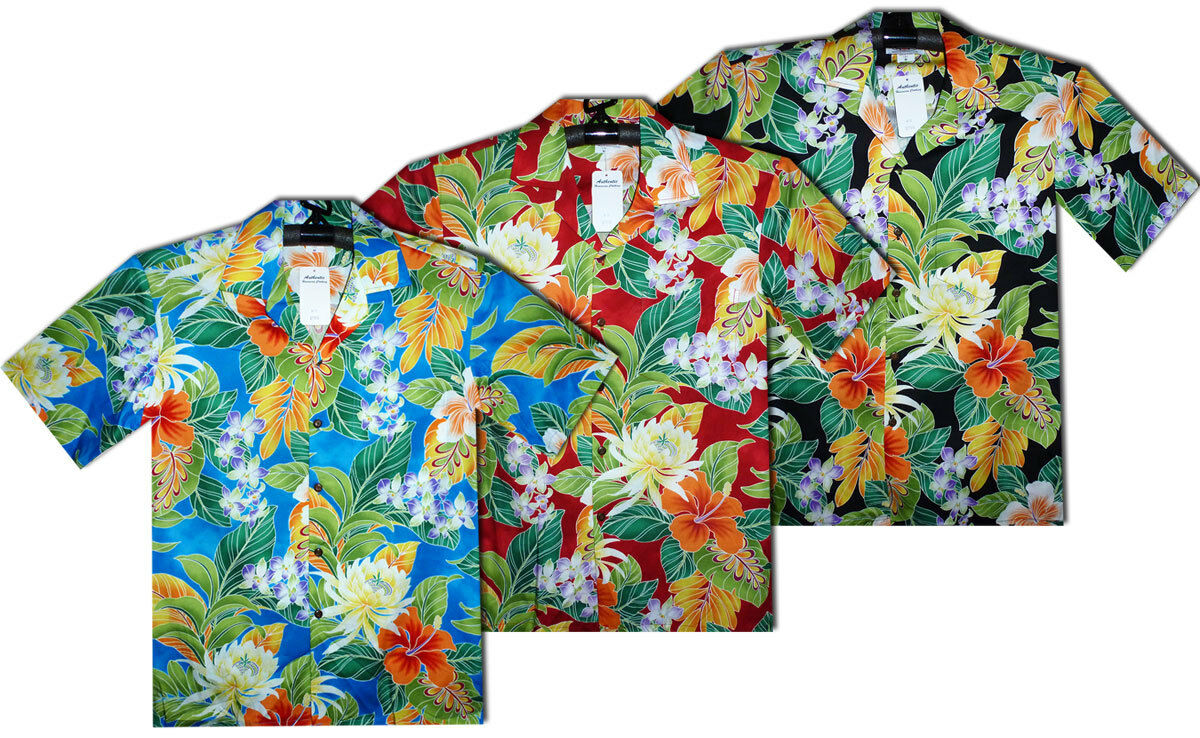 PLA ORIGINALE Hawaiian Shirt, Camicia Hawaii, New Flower, Multi, s-4xl