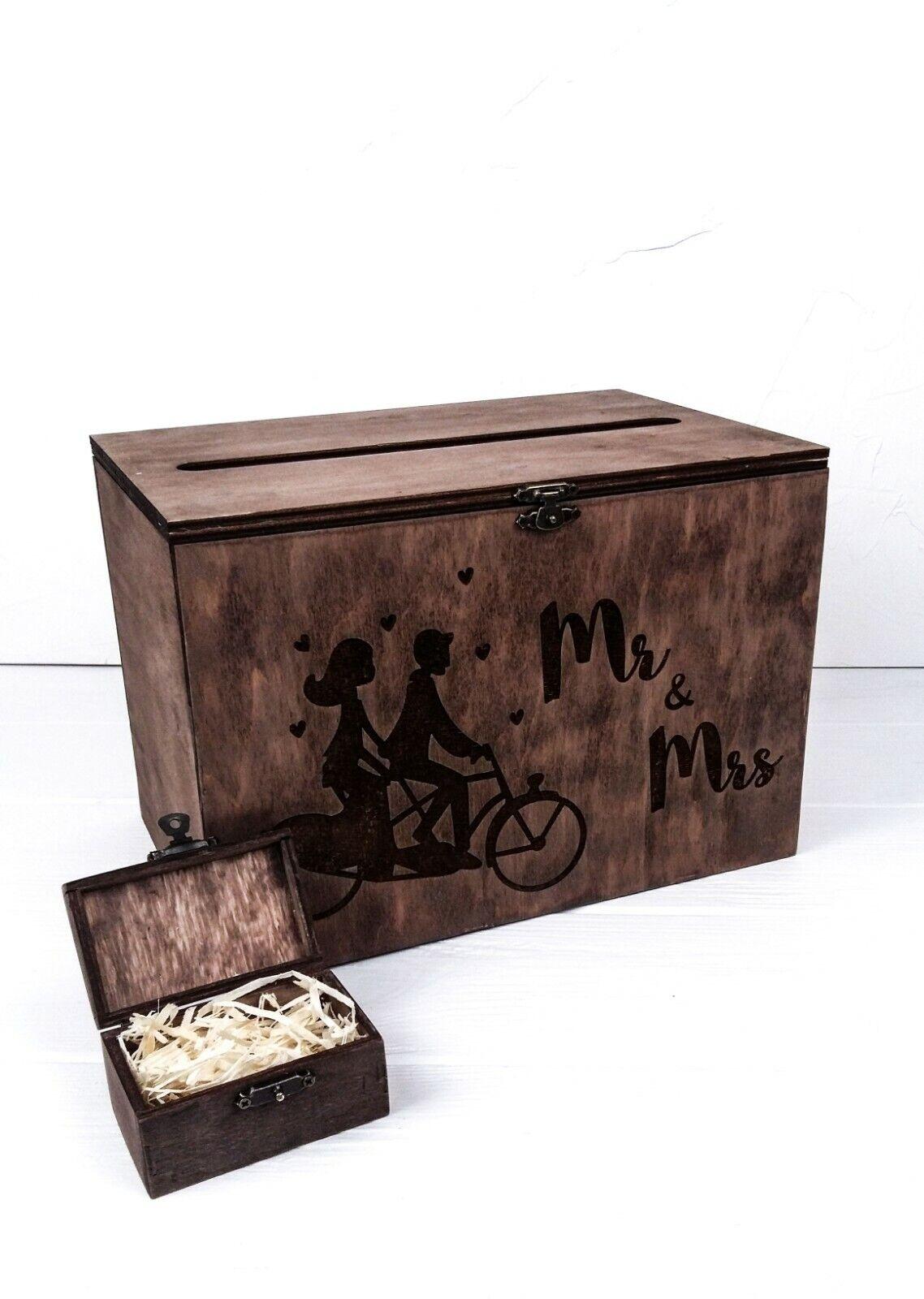 Rustic wood wedding card box and ring box Mr & Mrs Wedding Card holder