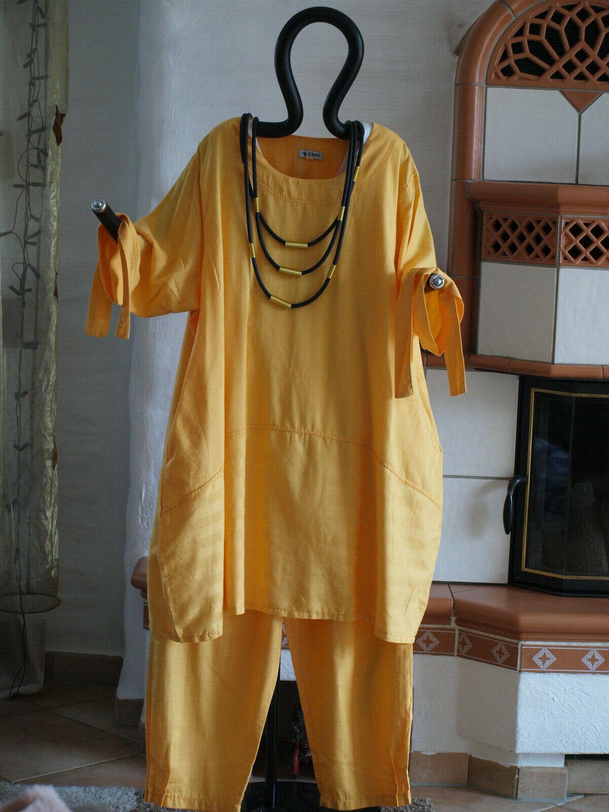 1840 LABASS Lagenlook Big Shirt Ballonform gelb gestreift Gr. XL 48 50
