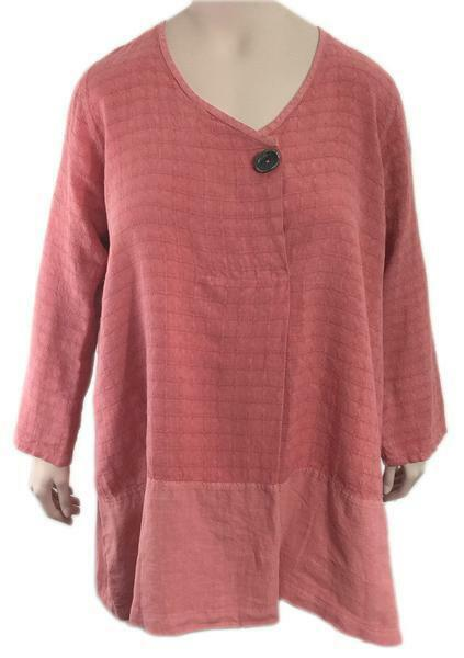 BODIL Window Pane A-Line Linen Tunic MEDIUM Fits US 14 16 18 GORGEOUS color