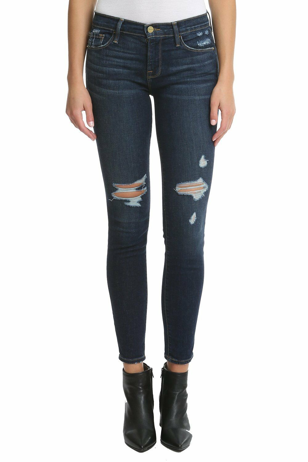 230 FRAME Denim Le Skinny de Jeanne in Wriley Destroyed Wash - Size 25