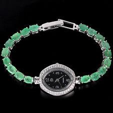 Sterling Silver 925 Genuine Green Emerald & Lab Created Diamond Watch 7.75 Inch