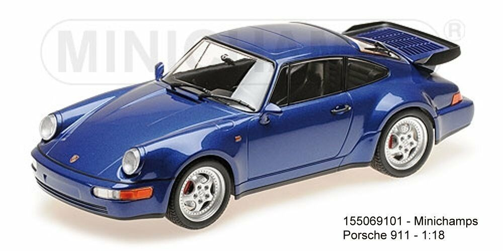 MINICHAMPS  155069101- PORSCHE 911 TURBO (964) – 1990 – azul METALLIC 1-18