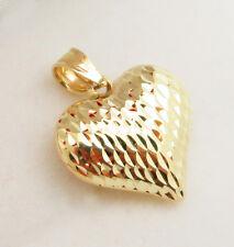 Womens Girls 10k Yellow Gold Heart Charm Diamond Cut Heart Pendant