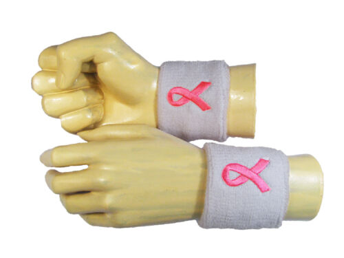Pink Breast Cancer Awareness Ribbon Embroidery Terry Wrsitbands