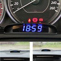 12v Digital Led Alarm Electronic Clock Car Thermometer Voltmeter Calendar Black