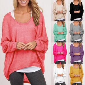 Womens-Long-Sleeve-Blouse-Loose-Pullover-Sweatshirt-Ladies-Casual-Tops-Jumper-US