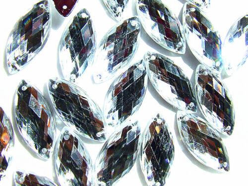 60 Clear Marquise Bead Acrylic Rhinestones Gem 7x15 mm Flatback 2 Holes Sew on