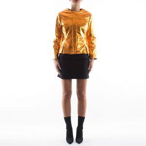 Metallic Genuine Italian Women Orange Leather Jacket Handmade XSnnF4wqxO