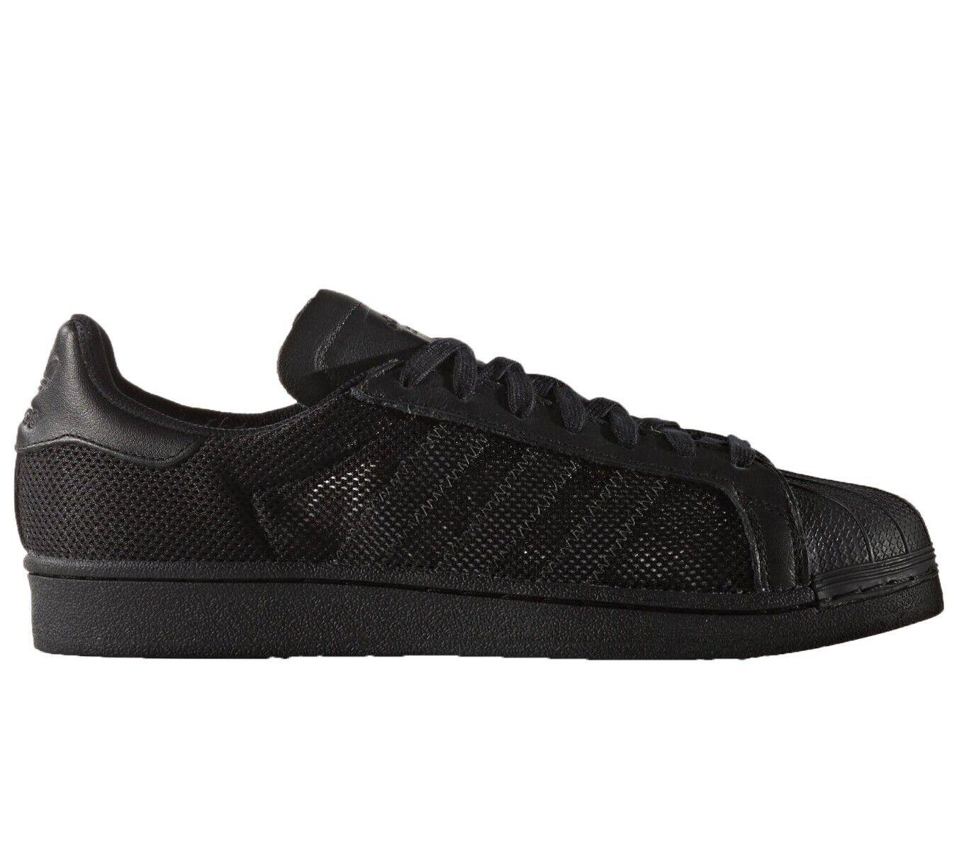 Adidas Herren Superstar Triple Turnschuhe Größe 11.5 UK Schwarz