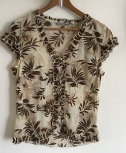PER-UNA-Ladies-Cream-Brown-Gold-Floral-Print-Crinkle-Chiffon-Blouse-Top-14