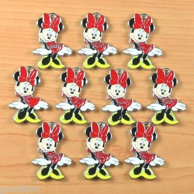 Lot 10pcs Minnie Mouse Metal Enamel Charm Pendants for Craft DIY Jewerly Making