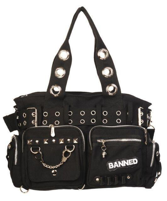 BANNED SHOULDER BAG Handcaff HANDBAG Canvas goth rock living dead souls Black