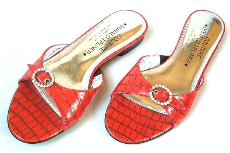New DONALD J PLINER Couture 'Bibi' brick croco Jeweled mules slides flats shoes