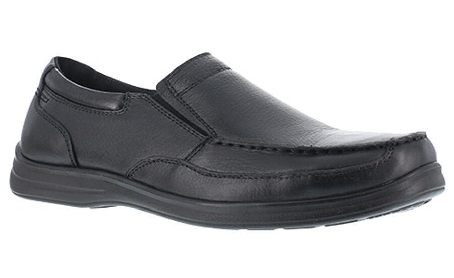Florsheim Work FS28 Women's Wily Black Moe Toe Slip On Steel Toe shoes Leather