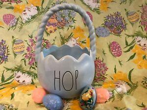Rae-Dunn-Ceramic-HOP-Easter-Basket-Light-Blue-Eggs-Hong-Kong-Incl