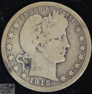 1915 S Barber Quarter, Very Good Condition, Silver, Free Shipping in USA, C4758
