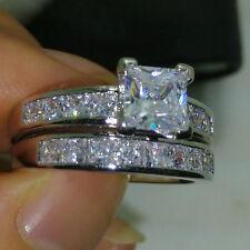 Princess Cut 2Ct Diamond Wedding Ring Gift Set 14k Real White Gold Size 4-12