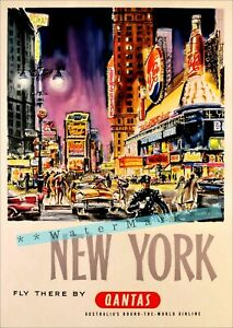 New-York-City-1960-Broadway-Airline-Travel-Vintage-Poster-Print-Retro-Style-Art
