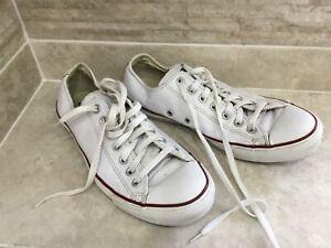 Men's White Leather Converse Size UK 9