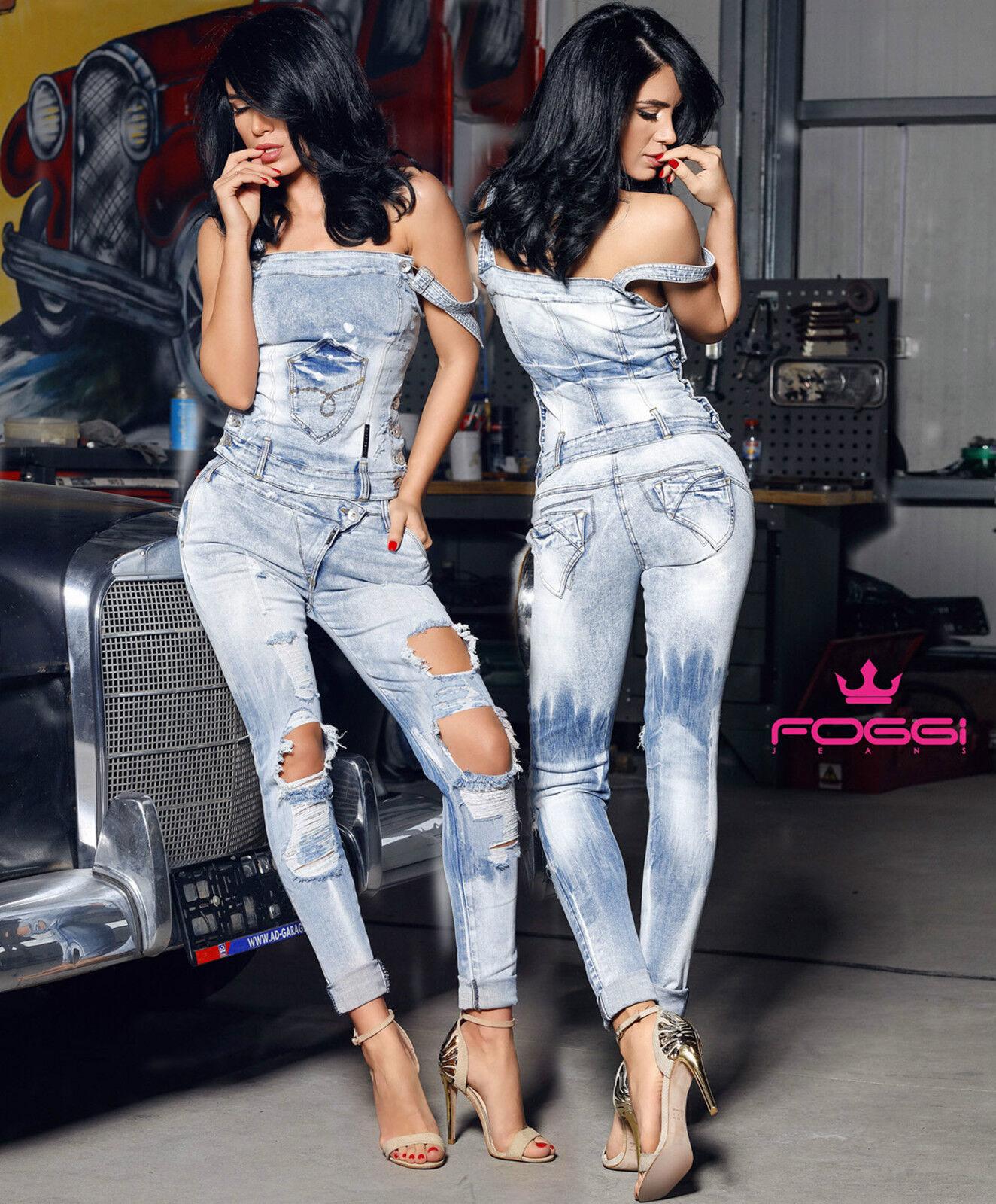 Foggi Jeans 2-Teiler Jeanstop Trägertop Boyfriendjeans Boyfriendjeans Boyfriendjeans Damenhose Blau XS-M db89c3