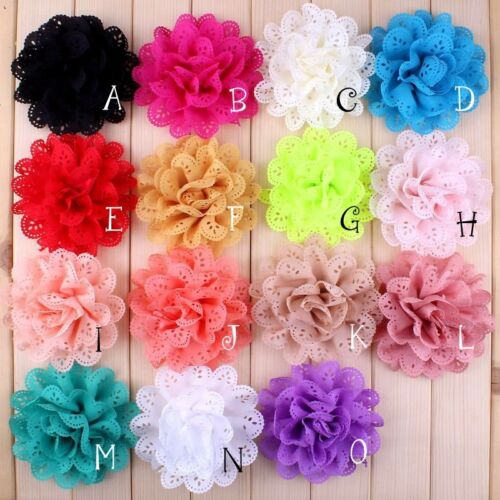 10x Eyelet Silk Fabric Flowers For Baby Headbands Craft Hot DIY Hair Decoration