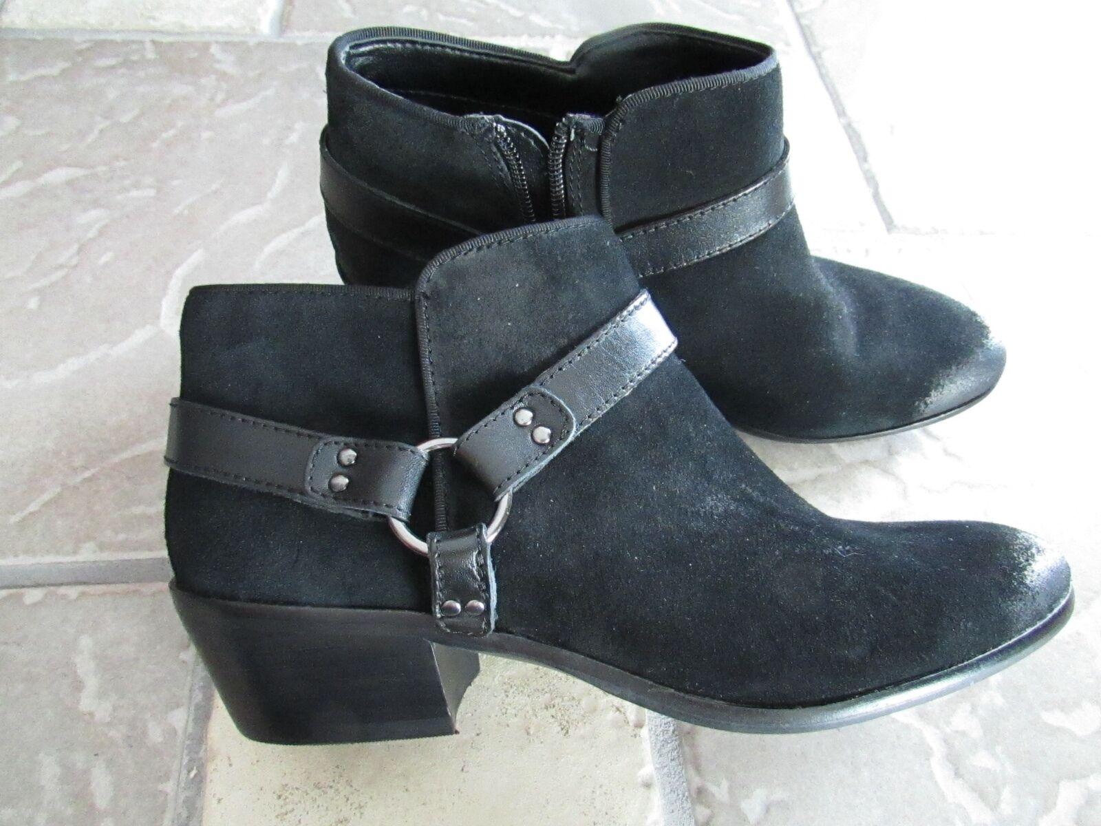 NEW SAM EDELMAN BLACK SUEDE ANKLE BOOTIES BOOTS Damenschuhe 7 ZIP SIDE