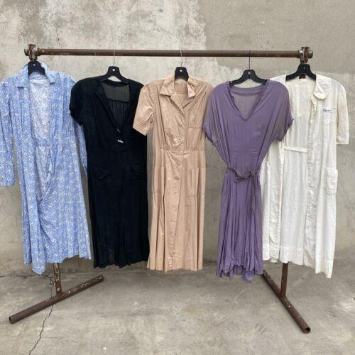 Vintage Dress Lot 5pces 1930s 1940s Day Dress  Cot