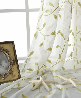 Country Green Leaf Floral Embroidered Off White Sheer Voile Curtain Net Panel