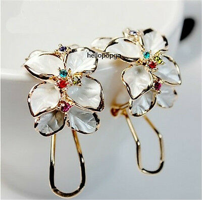 18K White Gold Gp Austrian Crystal Big Color Zircon Earring/Earrings BR1048