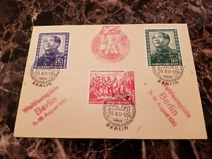 1951-Berlin-East-Germany-DDR-Cover-Mao-Tse-Tung-Set-82-84-Student-Youth-Cancel