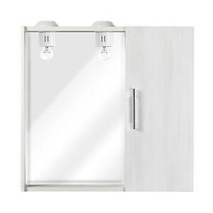 Specchiera A Muro 67x58x15 Cm Con 1 Anta Bianco Effetto Legno Con